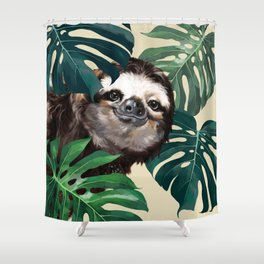 Sneaky Sloth with Monstera Shower Curtain