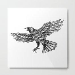 Raven Flying Up Geometric Mandala Tattoo Metal Print
