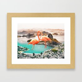 Collage, Flamingo, City, Creative, Nature, Modern, Trendy, Wall art Framed Art Print