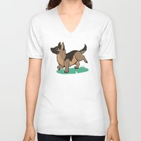german shepherd V-neck T-shirts featuring Chibi German Shepherd by Ashdoun