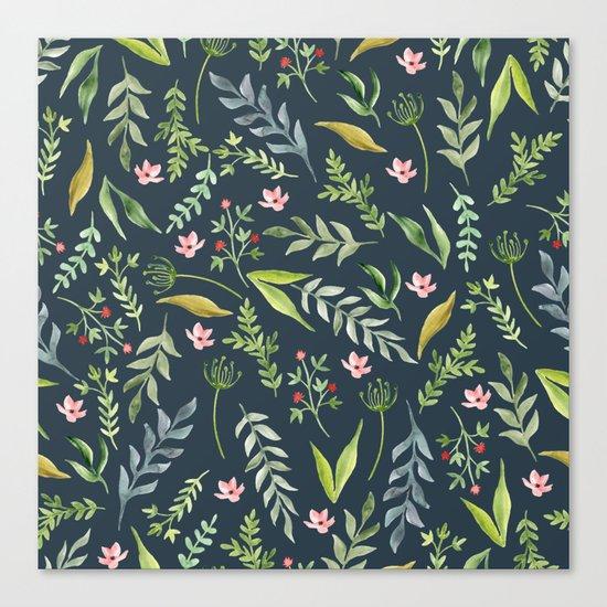 Floral blue pattern. Watercolor Canvas Print