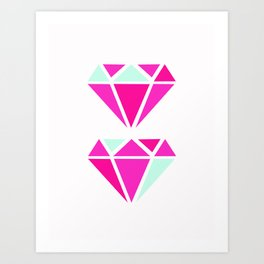Color Block Diamonds Art Print