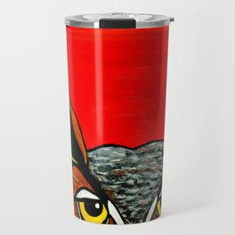 Peaking - Great Horned Owl Travel Mug