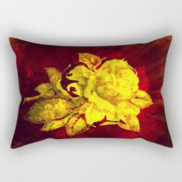 Yellow rose on dark red with hearts background Rectangular Pillow