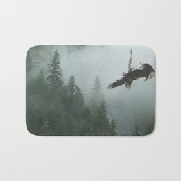 Battle for the Cedars - Bald Eagles Wildlife Scene Bath Mat