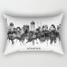Athens Greece Skyline BW Rectangular Pillow