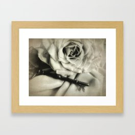 Faded Rose and Old Key Vintage Style Modern Country Cottage A440 Framed Art Print