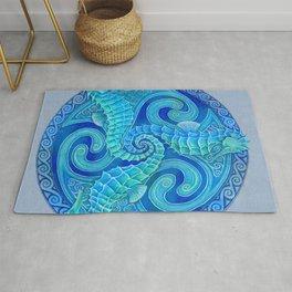 Seahorse Triskele Celtic Blue Spirals Mandala Rug