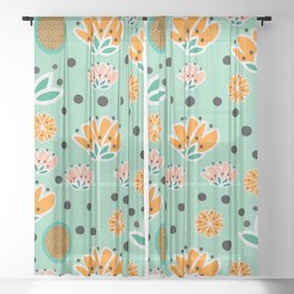 Summer flowers in mint Sheer Curtain