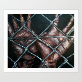 Chain Linked~2 hands Art Print