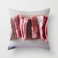 meat Throw Pillows featuring Meat Meat Meat  by The Avant-Garden