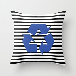 Blue Recycle Logo - Symbol on a black lines pattern Throw Pillow