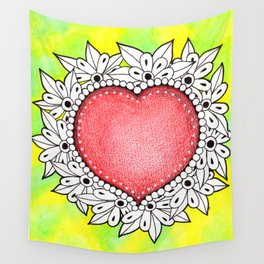 Watercolor Doodle Art | Heart Wall Tapestry