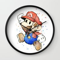 mario bros Wall Clocks featuring Mario Watercolor by Olechka