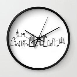 Barcelona Skyline in one draw Wall Clock
