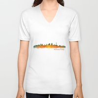 kansas city V-neck T-shirts featuring Kansas City Skyline Hq v2 by HQPhoto