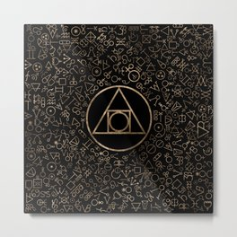 Philosopher's stone symbol and Alchemical  pattern #1 Metal Print