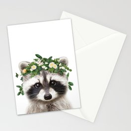 Baby Raccoon With Flower Crown, Baby Animals Art Print By Synplus Stationery Cards