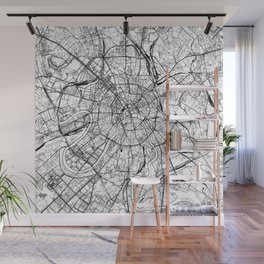 Moscow White Map Wall Mural