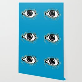 """I See You"" Blue Pattern Wallpaper"