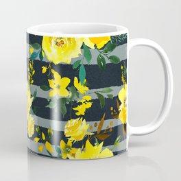 Yellow black gray watercolor modern floral stripes Coffee Mug