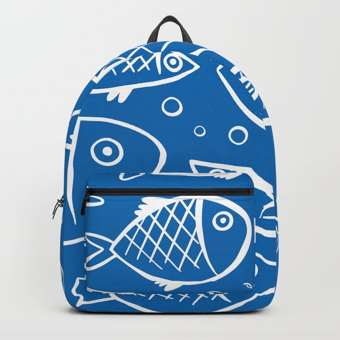 Fish blue white Backpack