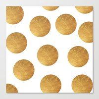 polkadot Canvas Prints featuring GOLD POLKADOT 2 by wlydesign