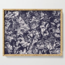 Indigo butterfly photograph duo tone blue and cream Serving Tray