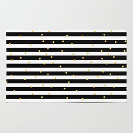 Modern black white gold polka dots striped pattern Rug