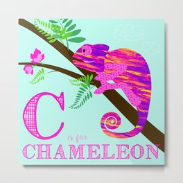 C is for Chameleon Metal Print