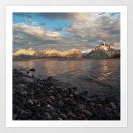 First Light on the Tetons and Jackson Lake Art Print