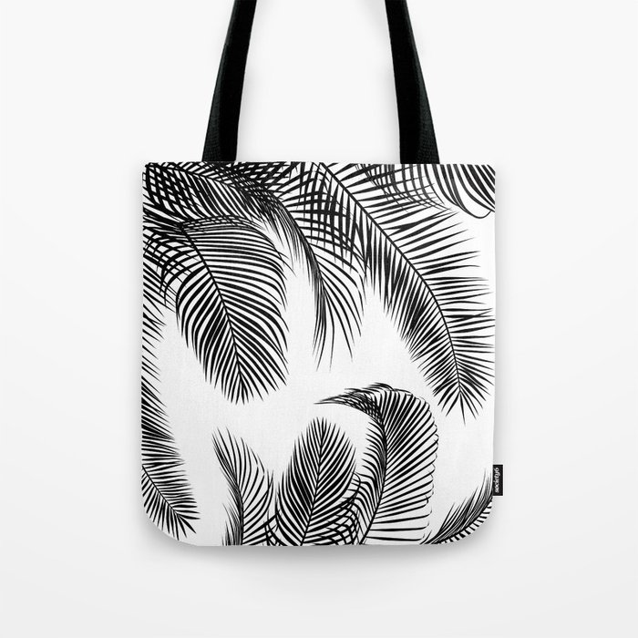 Black palm tree leaves pattern Tote Bag
