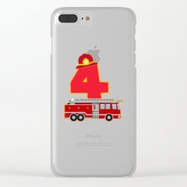 4th Birthday Fireman Firefighter Fire Truck Gift Clear iPhone Case