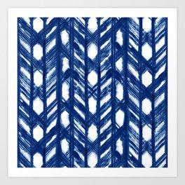 Indigo Geometric Shibori Pattern - Blue Chevrons on White Art Print