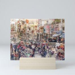 Saigon, abstract city life and traffic concept -   street photography  double exposure Mini Art Print