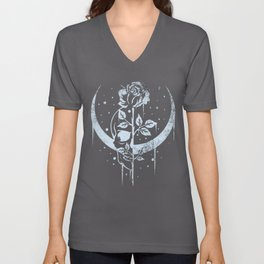 Occult Moon Rose Witchcraft Wicca Skull Gothic Unisex V-Neck