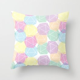 Pastel D20 Pattern Dungeons and Dragons Dice Set Throw Pillow