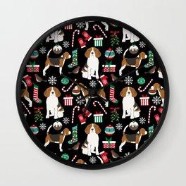 Beagle christmas gift wrap pillow phone case cute beagle dog design Wall Clock