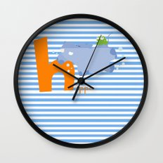 h for hippo Wall Clock