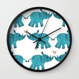 Teal African Black Rhino Love Wall Clock