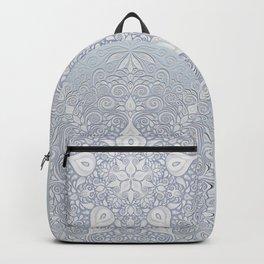 Baroque Garden, White on Blue, Watercolor Ornate Pattern Backpack