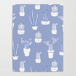 Elegant Blue Cacti in Pots Pattern Poster