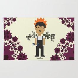 Charlie Chaplin - Modern Times - minimal movie Poster, cartoon version Rug