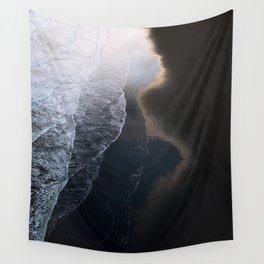 Waves on Black Sand Beach during Sunset in Iceland Wall Tapestry
