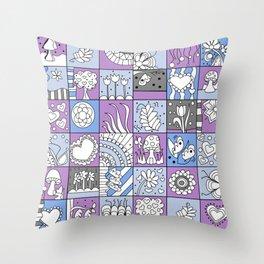 Inchie Doodle Design - Lavender Blue - Spring Throw Pillow