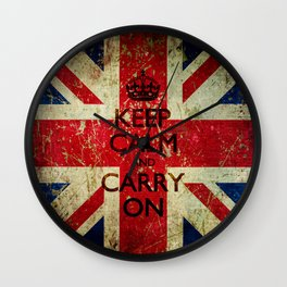 Square Keep Calm and Carry On Grunge Union Jack Wall Clock