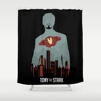 stark Shower Curtains featuring Tony Stark by offbeatzombie