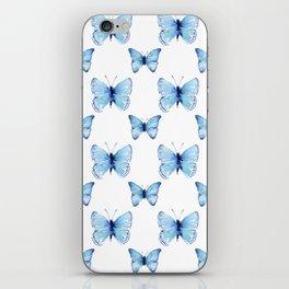 Blue Butterflies Pattern Butterfly Watercolor iPhone Skin