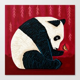 The Panda and the Butterfly Canvas Print