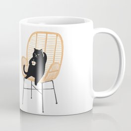 Lazy cat 2 enjoying coffee on rattan chair  Coffee Mug